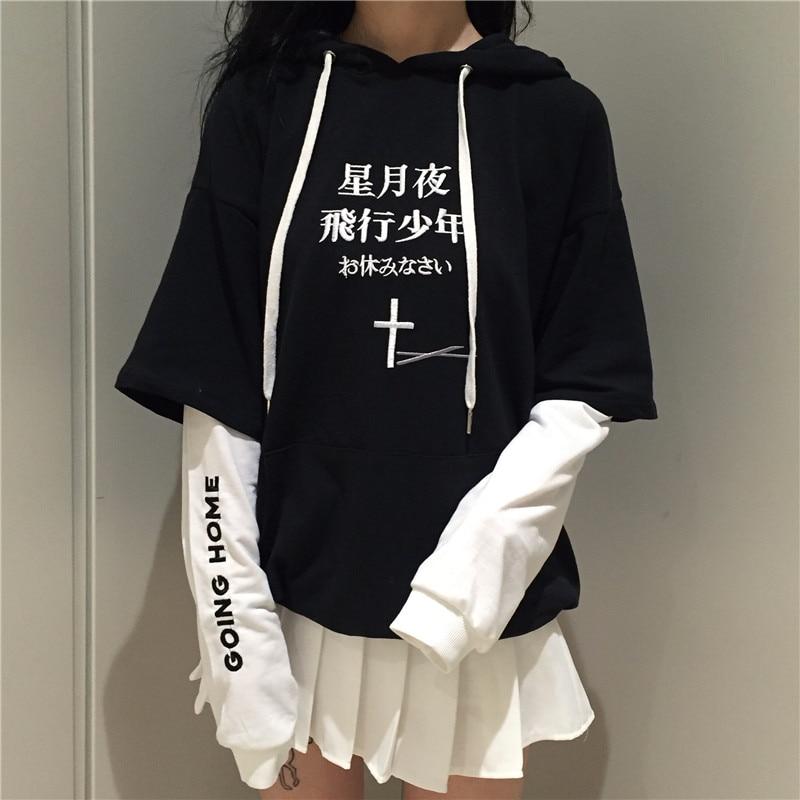 YouGeMan Harajuku Streetwear Embroidery Sweatshirt Hoodie Korean Style Ulzzang Fake 2 Piece Long Sleeve Hooded Sweatshirts Women