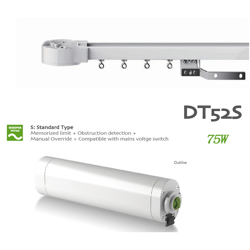 Dooya AC DT52S 75W Electric Curtain Motor,Silence track 4m-6m,Remote Control for smart Home automatic for Russian line