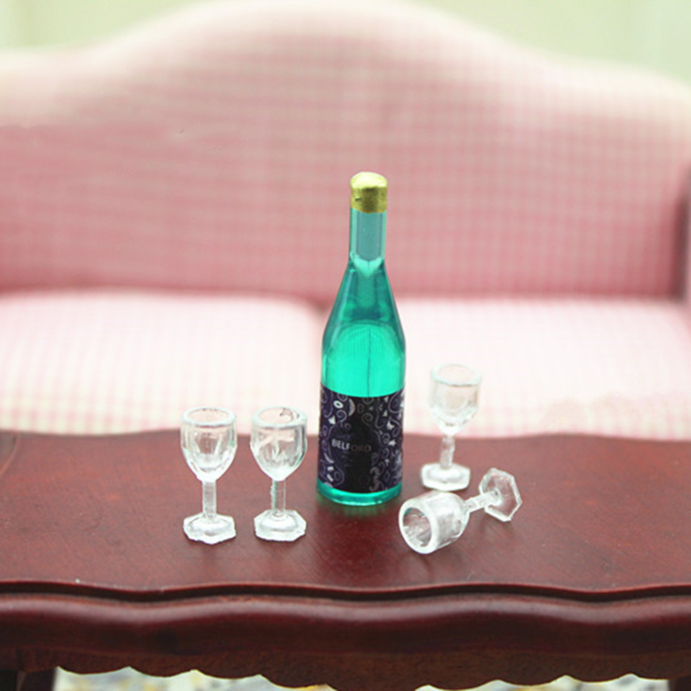 1/12 Dollhouse Miniature Accessories Mini Resin Wine Bottle With Wineglass Simulation Drinks For Doll House Decoration