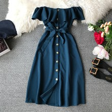 Summer Bandage Dresses Women New Short Sleeve Off Shoulder Sexy Beach Casual Dress Female Slash Neck Single Breasted Long Robe(China)