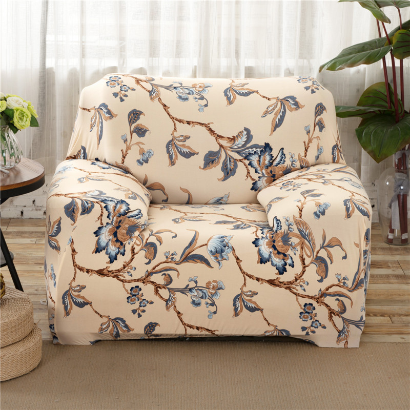 SunnyRain Beige Polyester Elastic Sofa Cover Printed Floral Sofa Cover For  Sectional Sofa Slipcover Couch Cover