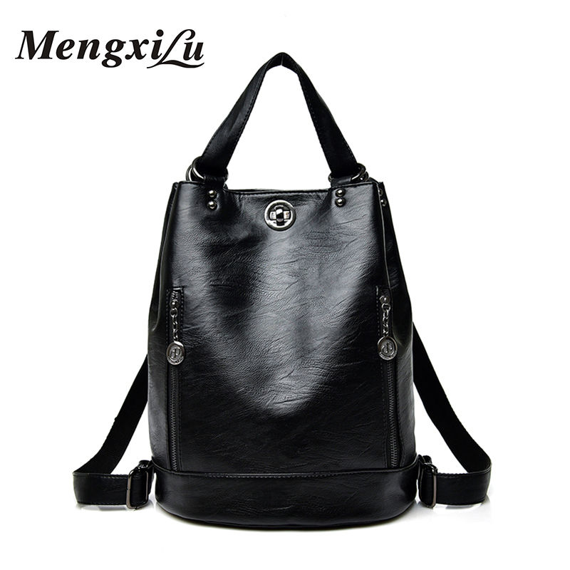 MENGXILU Fashion Women Backpack Designer Women PU Leather Bag Large Capacity School Bags Teenager Girls Backpack Soft Ladies Bag
