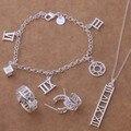 As115 moda venta al por mayor de plata conjuntos de joyas pulsera 125 + collar 255 + Earring 230 + anillo 260 / ahlaiysa biiajzpa
