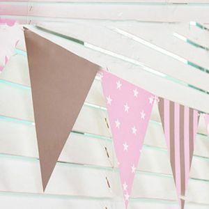 Image 5 - 3 m 12 Vlag Blauw/Roze Papier Board Garland Banner Voor Baby Shower Verjaardagsfeestje Decoratie Kinderkamer Decoratie guirlande Gors