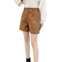 Koreaanse casual herfst winter dikker uitloper shorts voor vrouwen hoge taille wollen warm korte shorts zwart plus size korte mujer