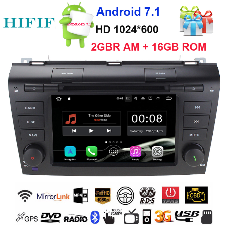 HIFIF Android 7.1 Car DVD Player For <font><b>Mazda</b></font> <font><b>3</b></font> GPS Navigation <font><b>2Din</b></font> Steering Wheel 1024*600 Quad Core 3G Radio WIFI Bluetooth TV image