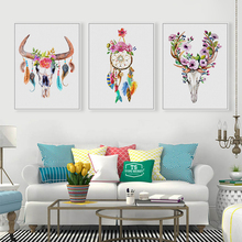 Modern Animal And Flower Poster Print Dream Catcher Feather Canvas Wall Art Picture Home Bedroom Wall Art Decoration Custom