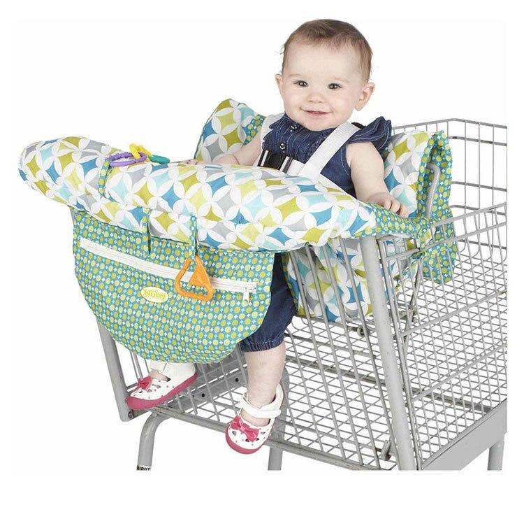2в1 двухместная детская магазинная Тележка для покупок, крышка для обеденного стула, антибактериальная Защитная Подушка, портативная - Цвет: Green