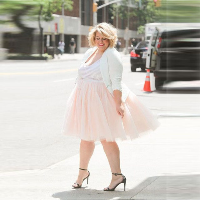 Pretty Pink Tutu Skirt Knee Length A Line Tulle Plus Size Skirts Women Spring Summer Casual Style