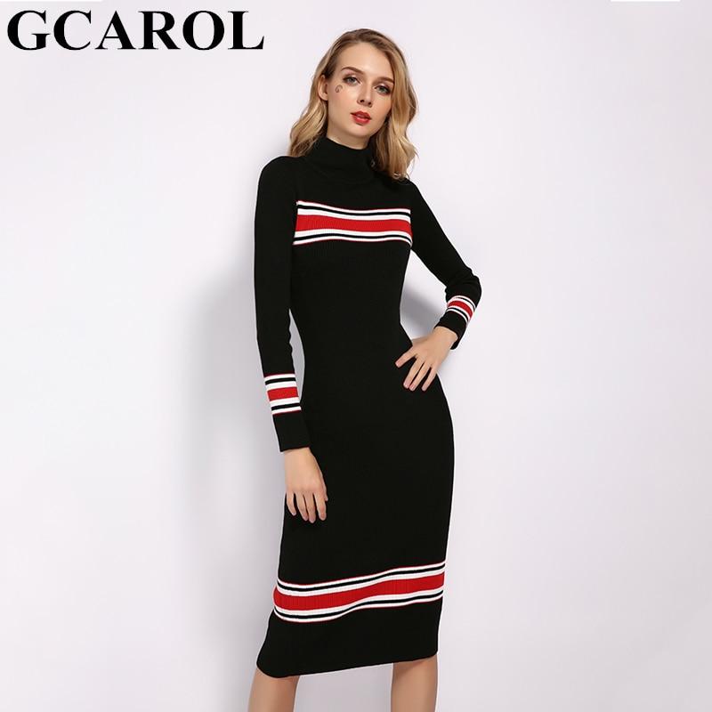 GCAROL 2019 New Stand Collar Women Striped Spliced Long Dress Sexy Bodycon Dress Fall Winter Elegant OL Black Knit Dress