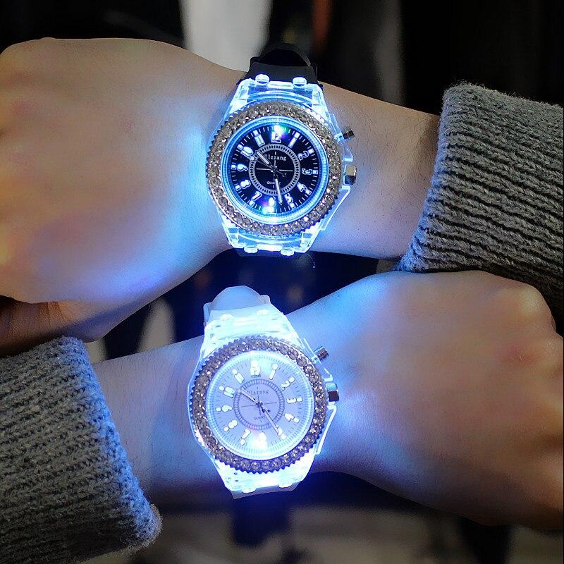 TMC#214 New Stylish Transparent Silicone Children Watches LED Light Student Boys Girls Quartz Wristwatch Clock Hot Relojes 2019
