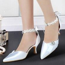 Elegant A0509 Whtie Pointed Toe Pearls Ankle Strap Rhinestone 2.5″ Spool Heel Satin Pumps Women Wedding Bridal Shoes