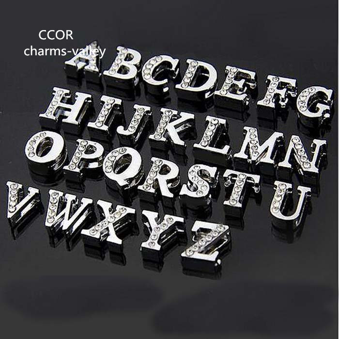 """26 Mixed Alloy Carved Alphabet Letter /""""A-Z/""""Slide Beads Charm Fit 8mm Wristbands"""