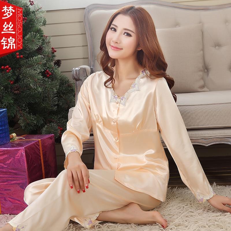2016 NEW Pajamas For Women Pyjamas V neck Long Sleeved Pajama Silk Stitch Sleepwear Women font
