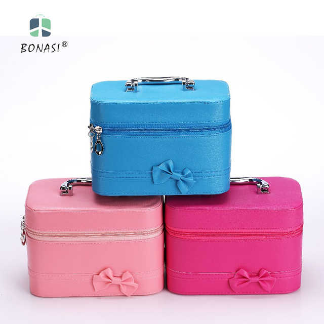 2017 Women Fashion PU Leather Solid Bow Cosmetic Bag Cases with Mirror Makeup Box with  3 colors