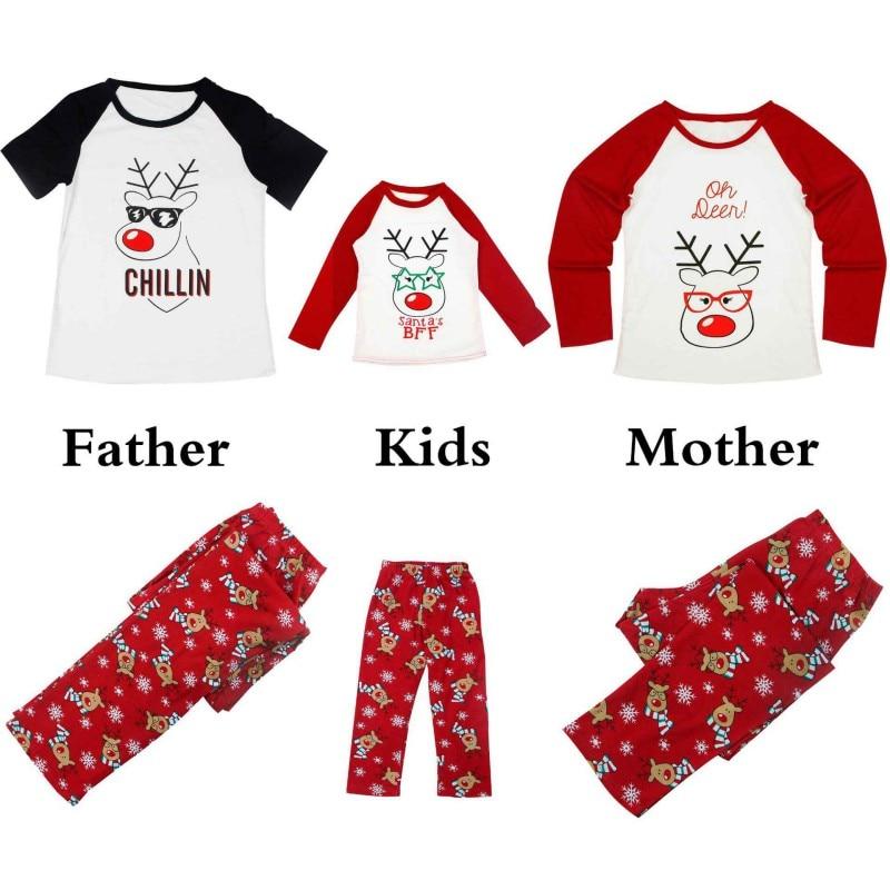 Family Christmas Pajamas Christmas Winter Look Parent-child Set Christmas Deer Stitching Printed 4Size Sleepwear For Family