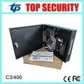 Tarjeta de sistema de control de acceso 4 puertas de control de acceso C3-400 panel con fuente de alimentación de la caja a prueba de agua la comunicación TCP/IP con el software