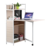 Home Work Office Computer Desk 2 In 1 Classics Design Desktop Contemporary Long Desk Bookcase Combination Table