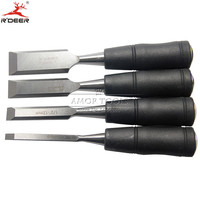 4 Pcs Woodwork Chisel Short Handle Straight Chisel 1 3 4 1 2 1 4 Tail