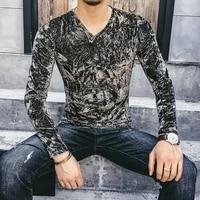New 2017 Winter T shirts Mens Velvet T shirts Black Long sleeve Silk Shirts Fashion Camisa Slim Fit Pattern Social Club Outfits