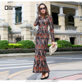 Sexy Luxury Printed Flowers Vintage Dress Long sleeves Maxi Long Dress New V-neck Party Clothing Plus Size