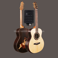 Full Solid Guitar,38 Solid Spruce Top/Solid Rosewood Body,Travel guitar Portable Mini guitar + 20mm cotton bag,(Cupid's Arrow)