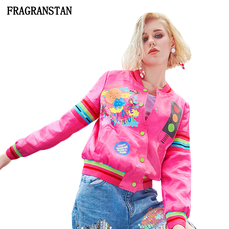 Women 2019 Spring Stand Collar Jacket Fashion Letter Girl Print Female Coat High Quality Casual Loose
