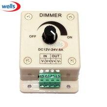 led Dimmer controller,8A 96W Rotating Bright Brightness Adjustable Controller Single Color LED DC 12V-24V