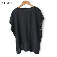 [XITAO] 새로운 도착 여성 한국 패션 여름 2018 오-목 짧은 소매 티 여성 단색 Asymmetical 티셔츠 KZH815