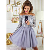 Grey Short Cocktail Party Dresses Long Sleeves Lavender Homecoming Dress Appliques Lace Skirt Knee Length Prom Gowns For Teens
