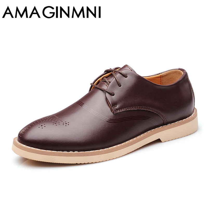 AMAGINMNI Brand Mens casual shoes Genuine Leather Brogue Shoes men Top Fashion Mens Wedding Shoes Business casual driving shoes top quality crocodile grain black oxfords mens dress shoes genuine leather business shoes mens formal wedding shoes