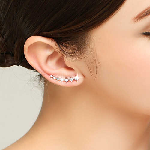 2019 Bling AAA Zirconia Factory Promotion Climber 925 Sterling Silver Long Ear Cuff Stud Earrings For Women Ladies Jewelry Gift