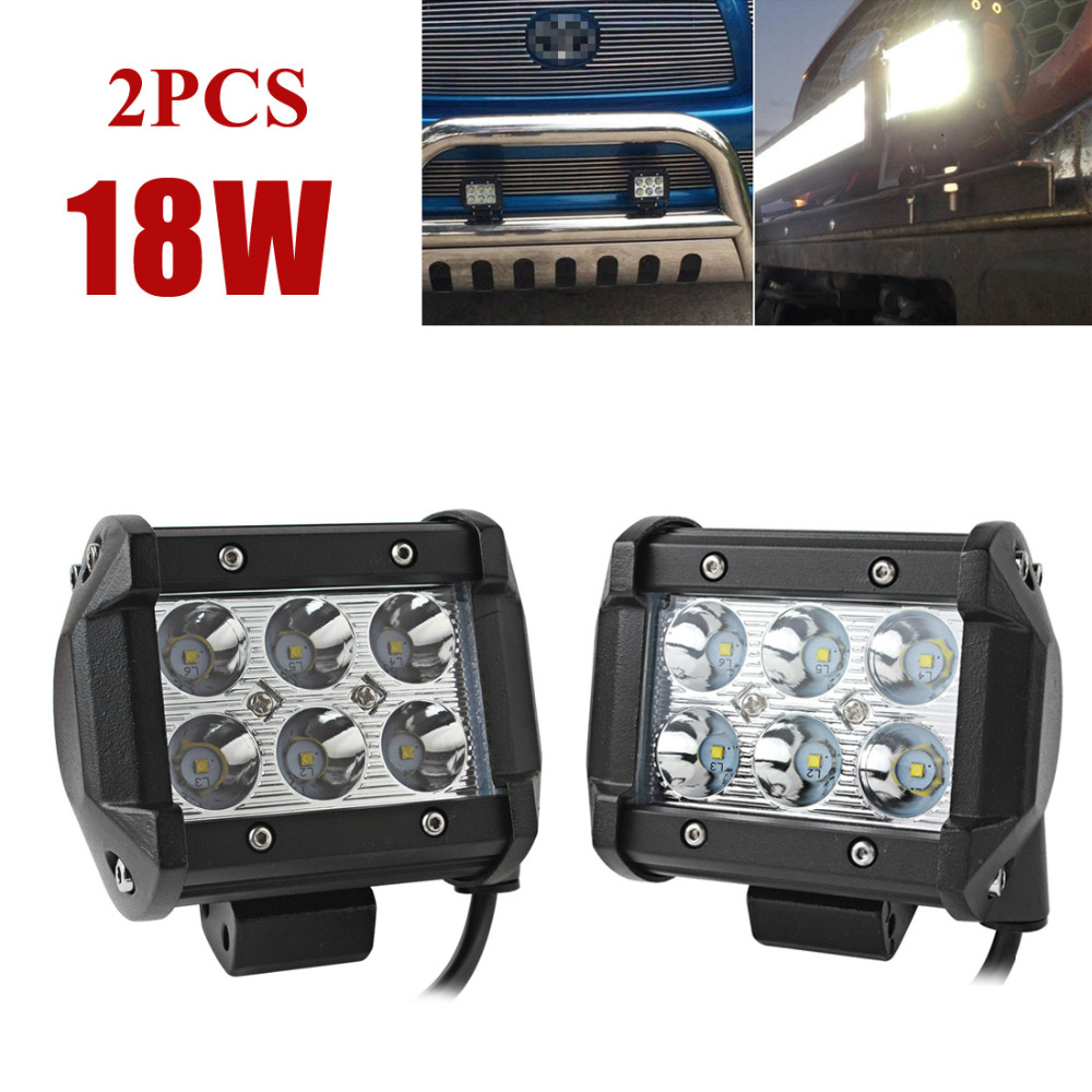 ФОТО 2pcs! 4 inch 18W Auto Car LED Work Light Bar Spot Flood Off-road Driving Lamp for Offroad Boat Truck Tractor SUV Worklight