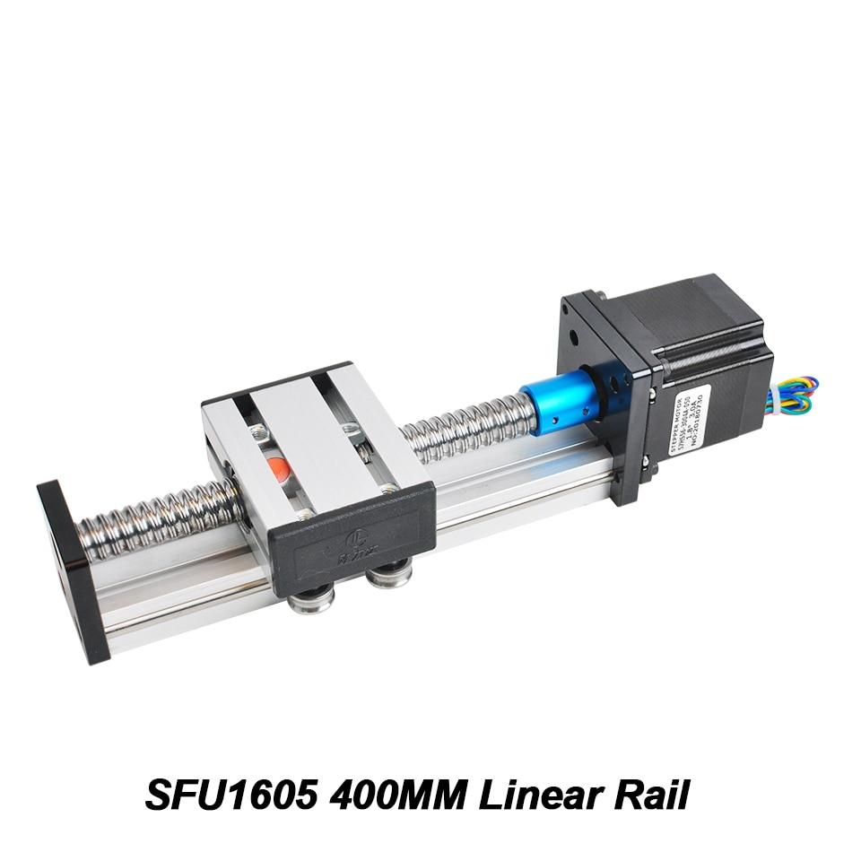 SFU1605 400mm Guide de Rail linéaire 400mm longueur de voyage actionneur linéaire Module Table Guide de Rail de vis à billes avec moteur pas à pas Nema23