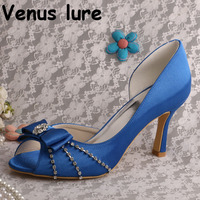 Bows Blue Heels Shoes for Women High Heel Royal Blue Satin Wedding Shoes Peep Toe