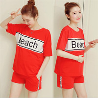 2 pcs Outwear Shorts set Women's T-shirts Maternity clothes Summer Tops Pregnancy Tee Shorts pregnant maternity shorts outfits