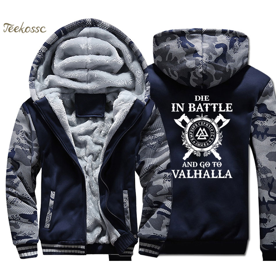 Odin Vikings Hoodie Coat Men Die In Battle And Go To Valhalla Hooded Sweatshirt 2018 Winter Fleece Thick Son of Odin Jacket Mens