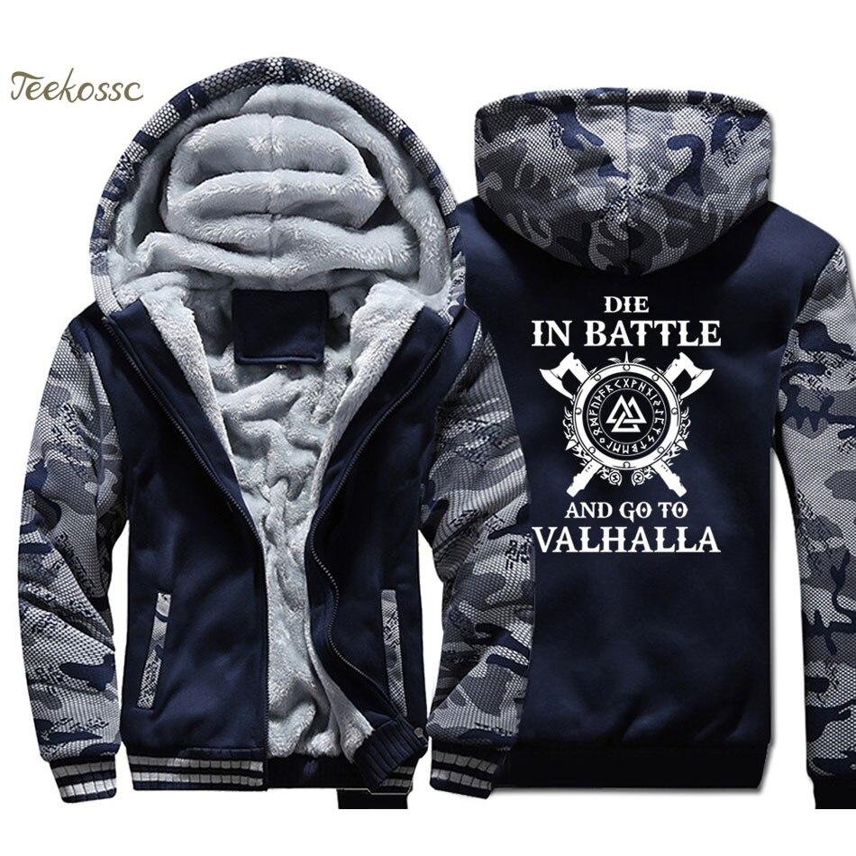 Odin Vikings manteau à capuche hommes meurent au combat et vont à Valhalla sweat à capuche 2018 hiver polaire épais fils d'odin veste hommes