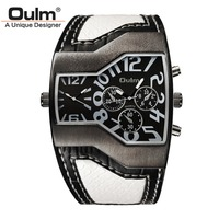 Oulm Brand Fashion Quality Luxury Men S Military Wrist Watch With Dual Quartz Movement Leather Strap