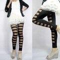 Mujeres Atractivas de la manera Raya Delgada Elástico Legging Pantalones Negros 30