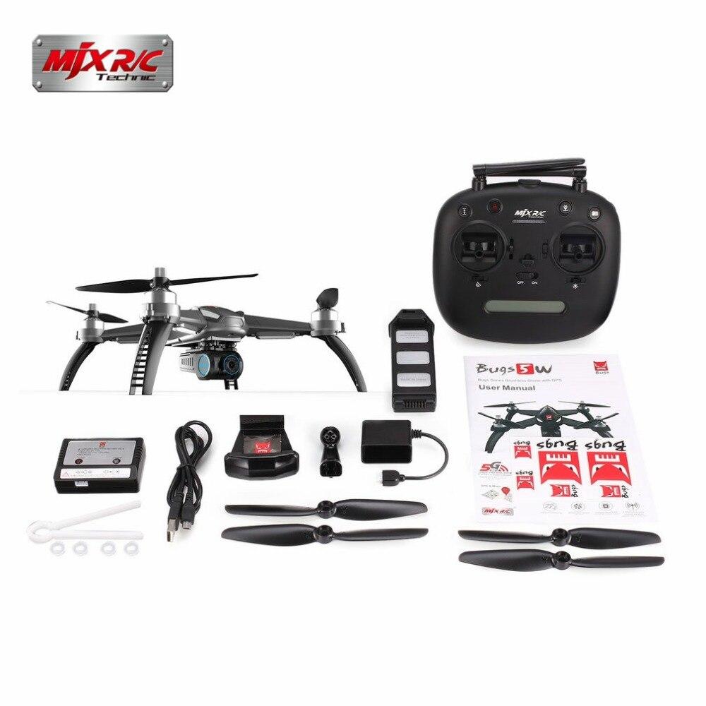 MJX ошибки 5 Вт 5 Вт gps бесщеточный Quadcopter с 1080 P Wi Fi FPV Камера автоматический возврат вертолет VsHubsan h501S
