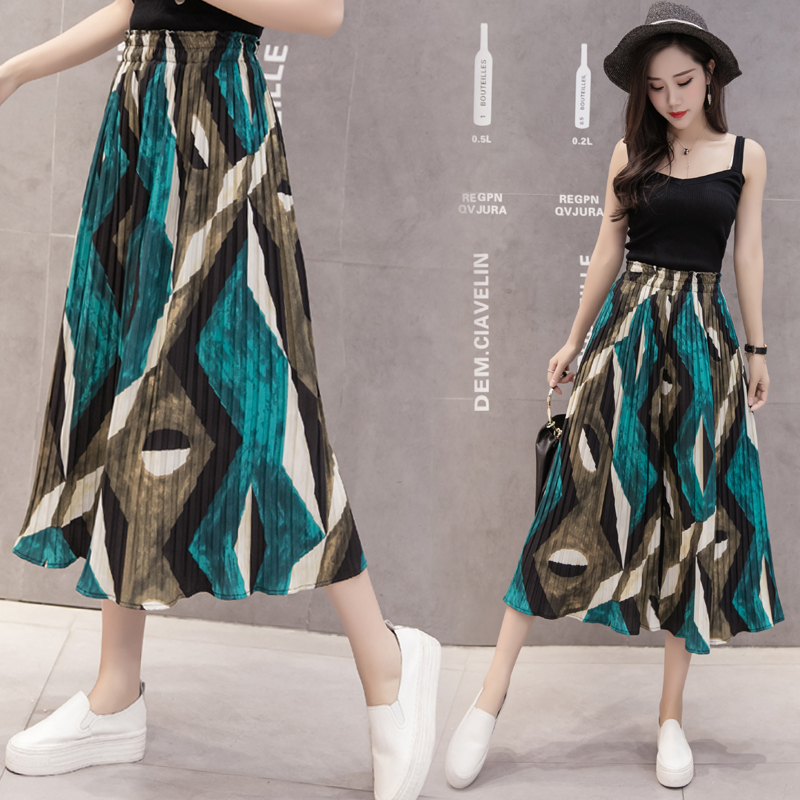 Pleated Chiffon Wide Leg Pants 2018 New Spring Summer Loose Pants Women Print Calf-Length Pants High Waist Casual Pants 26 Color
