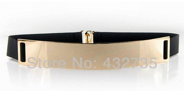новая мода розничной 2014 cinto feminino дамы черный эластик высоким поясом золотистая зеркало лицо ремни для ёенщин бесплатной доставкой