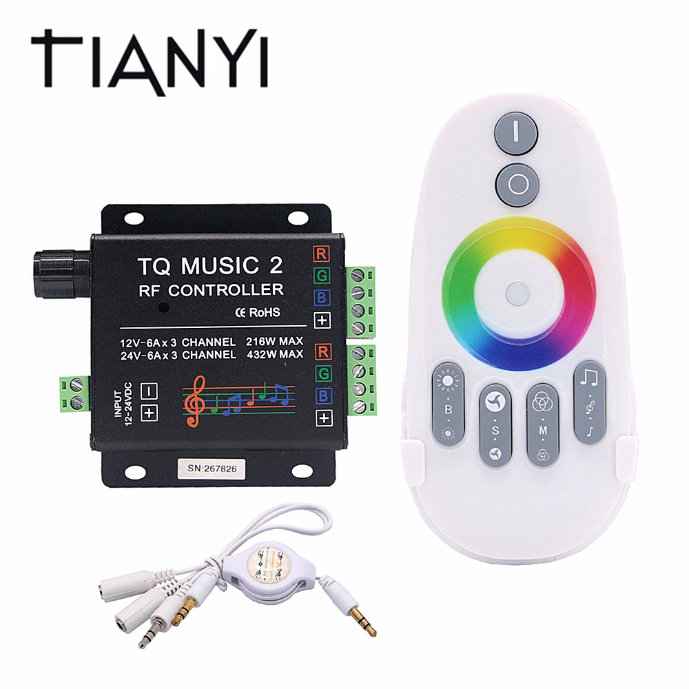 DC 12V 24V Support WIFI Music RGB LED Controller RF Audio control 18A 3 Channel Music 2 LED RGB Controller For LED Strip mini wifi rgb strip light controller with music control and voice control compatible with google home