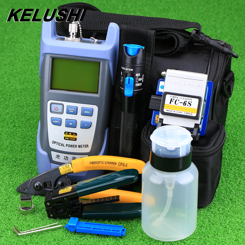 KELUSHI 9pcs/set FTTH Tool Kit with FC-6S Fiber Cleaver and Optical Power Meter 1mW Visual Fault Locator Fiber Optic Stripper
