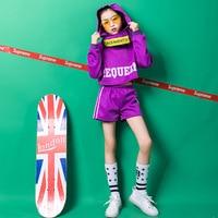 3Pcs/set Kid Hip Hop Ballroom Dancing Costumes Clothing with Hat Jazz Dance Cloths for Girls Crop Tank Tops Short Pant Dancewear
