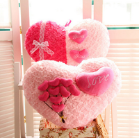 2 Typs 장미 사랑 베개 만화 커플 베개 심장 모양 소파 장미 아플리케 쿠션 봉제 장난감 발렌