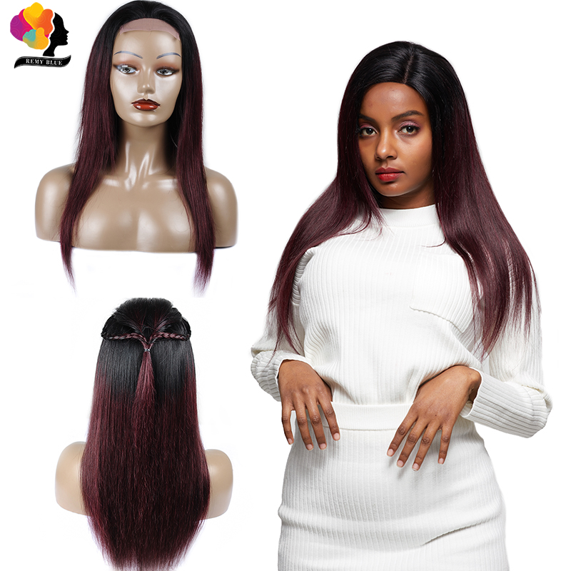 Brazilian Straight Hair Lace Front Red Wig 1B Burgundy Ombre Hair 150 Density Lace Front Human
