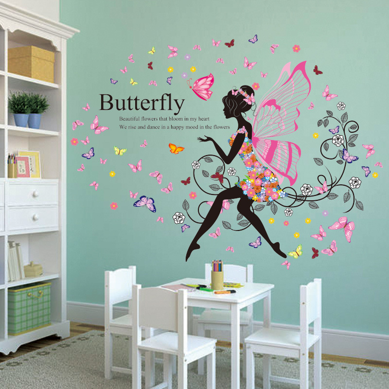 DIY Romantic Black Flower Vine Girl Elf Wing Vine Wall Stickers Girl Kids Room Sticker Wall Decoration Art Wallpaper Poster