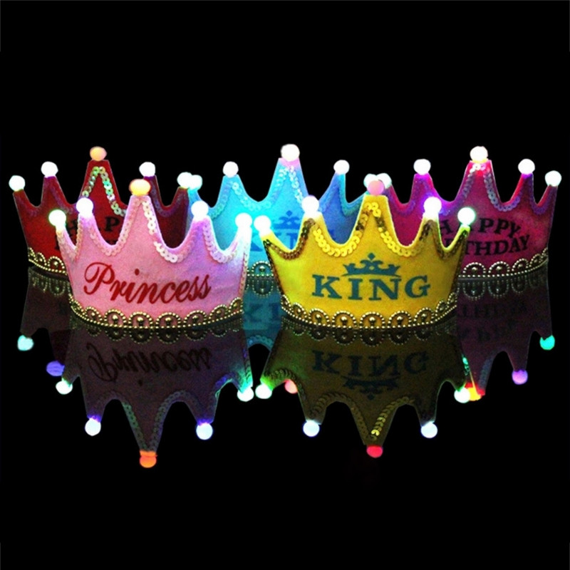 Colorful Led Birthday Party Hat Kids Baby Crown Decorations Shower Photo Props